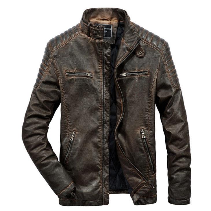 Mannen leren jas warm hoge kwaliteit winter Lederen Jassen Causale motorfiets Vintage PU Lederen Jassen chaqueta cuero hombre-in Kunstleerjassen van Mannenkleding op  Groep 2
