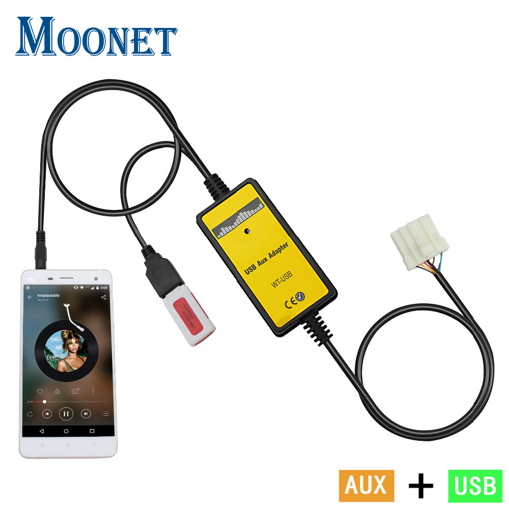 Moonet de Audio de coche MP3 adaptador USB AUX 3,5mm interfaz AUX de cambiador de CD para Mazda 3 5 6 323 CX7 MPV RX8 QX023