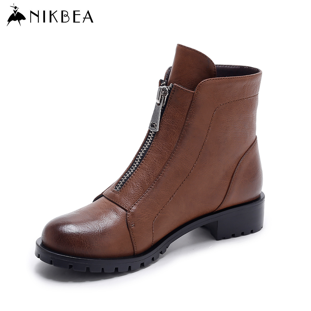 Nikbea Brown Ankle Boots for Women Vintage Flat Boots 2016 Winter Boots Handmade Autumn Shoes Pu Botas Feminina Outono Inverno nikbea brown ankle boots for women vintage flat boots 2016 winter boots handmade autumn shoes pu botas feminina outono inverno
