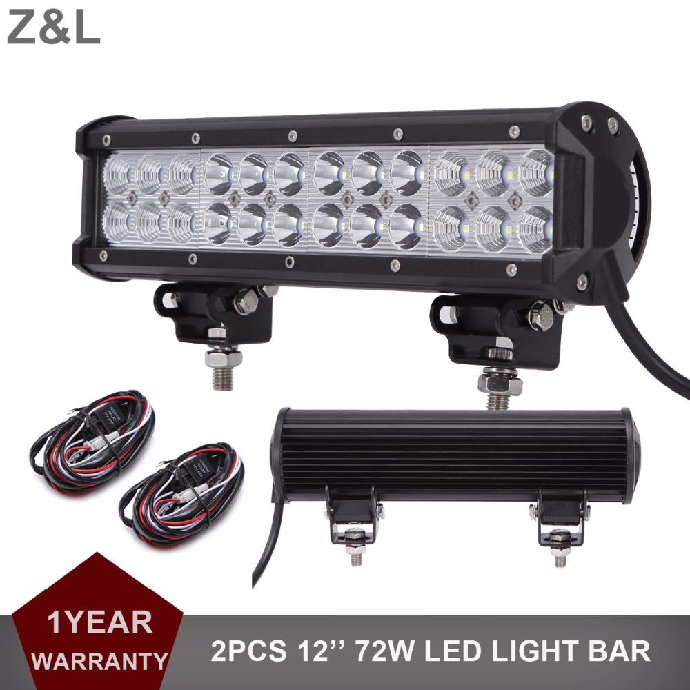 12 72W Offroad LED Light Bar 12V 24V Car Auto Truck Trailer ATV Pickup Camping SUV AWD 4X4 4WD Tractor Boat Driving Work Lamp
