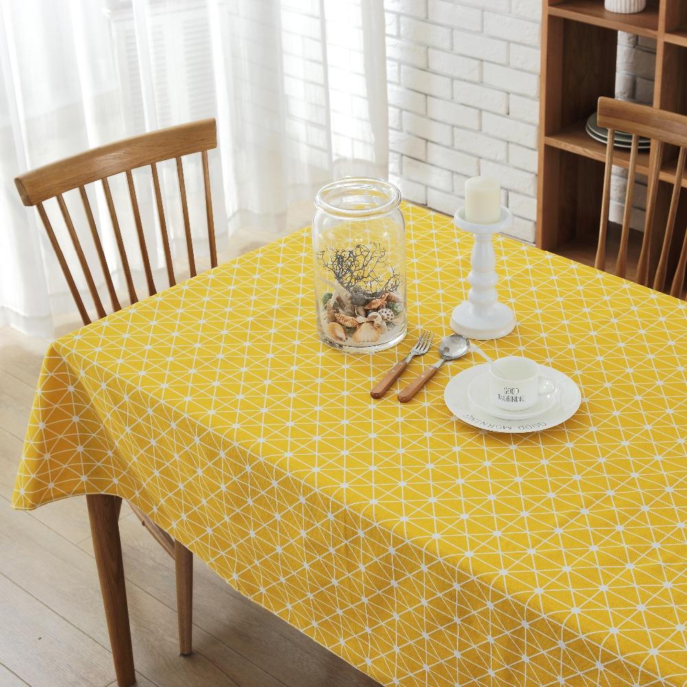 amarillo cuadrcula manteles modernos estilo fresco simple rectangular mesa de tela manteles mantel mesa prr tischdecke