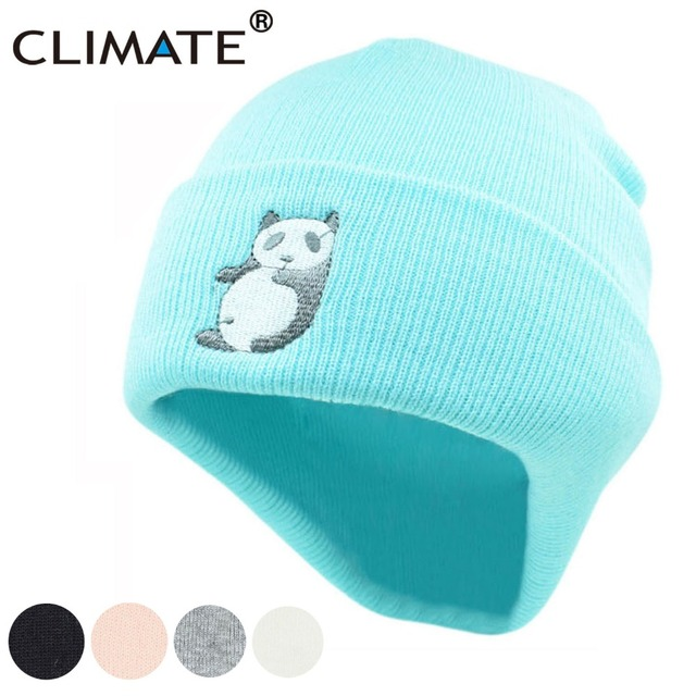 e29f7152f16 CLIMATE Panda Beanie Hat Women Girls Winter Warm Hat Lovely Cute Warm Hip  Hop Knitted Hat Beanie For Adult Women Girls Teenagers