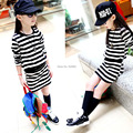 2016 Summer and spring kid's fashion normic stripe skirt girls one-piece dress child long-sleeve 100% cotton dress suit