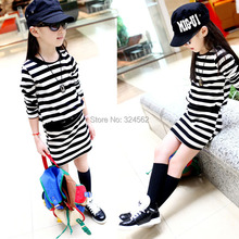 2020 Summer and spring kid s fashion normic stripe skirt girls one piece dress child long