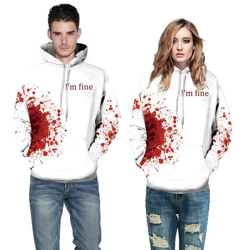 Halloween 3D Graphic Blood Print Men Women Hoodie Sweatshirt Jacket Pullover Top