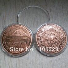 50 шт./лот, 1 унция унции, монета из чистой меди с изображением богов майя, календарь с пророчеством, 2012, круглые монеты