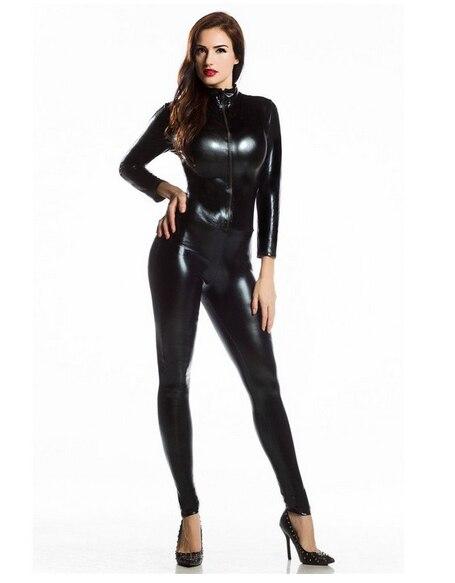 Plus Size Black Sexy Shiny Cat Suit Silver Metallic Unitard Tight Suit Lycra Spandex Bodysuit Zipper Long Sleeve Catsuits