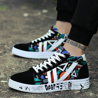 Men Classic Canvas Graffiti Shoes Casual Sneakers High Top Fashion Footwear Ladies lovers High Top Shoes OO 33