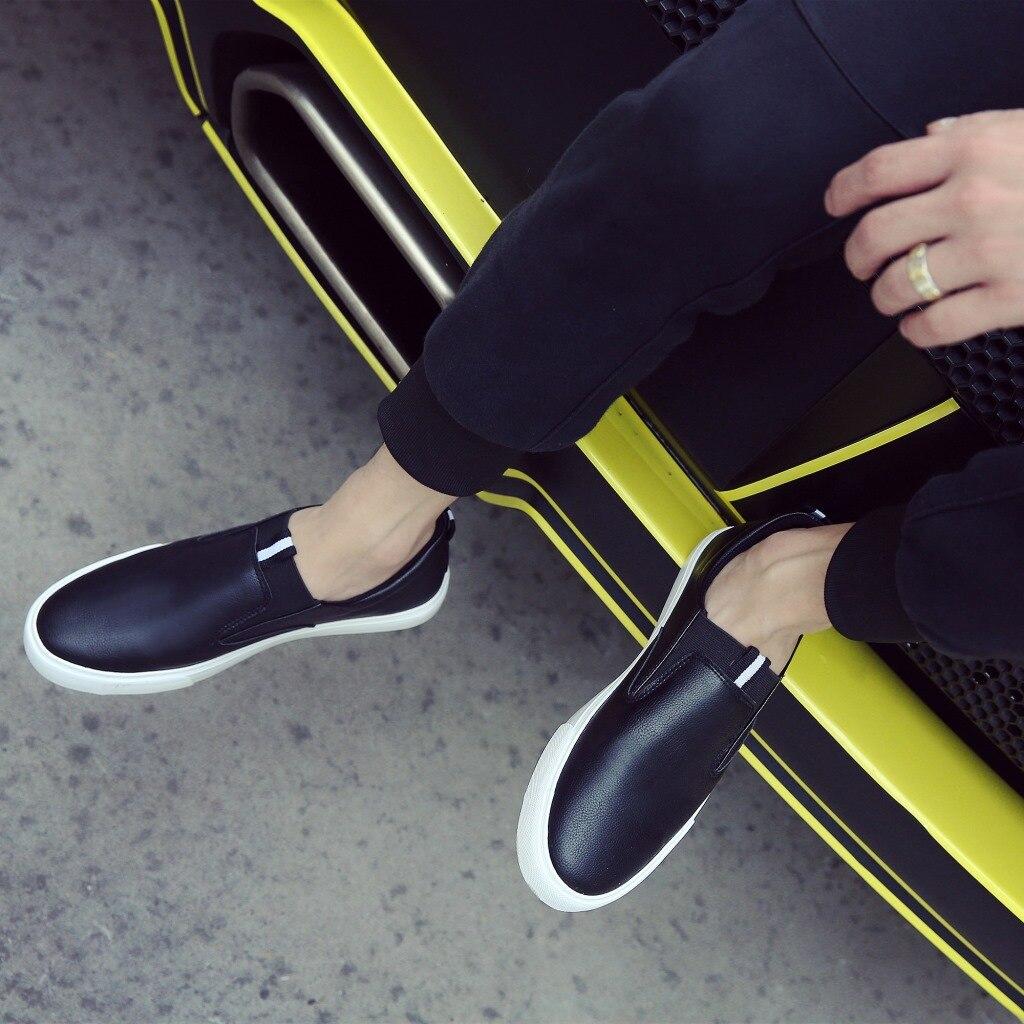 Pu Plates Loisirs Lacets Conduite Mocassins En Hommes Chaussures Sans De Solide blanc Cuir Noir XXzrq