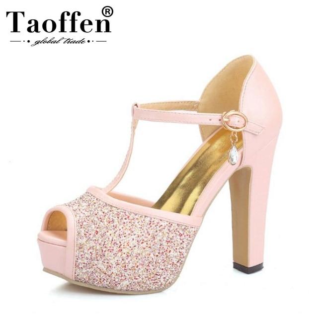 TAOFFEN women quality high heel sandals fashion dress sexy shoes platform  heels pumps P13878 Hot sale 48a83ea69cd9