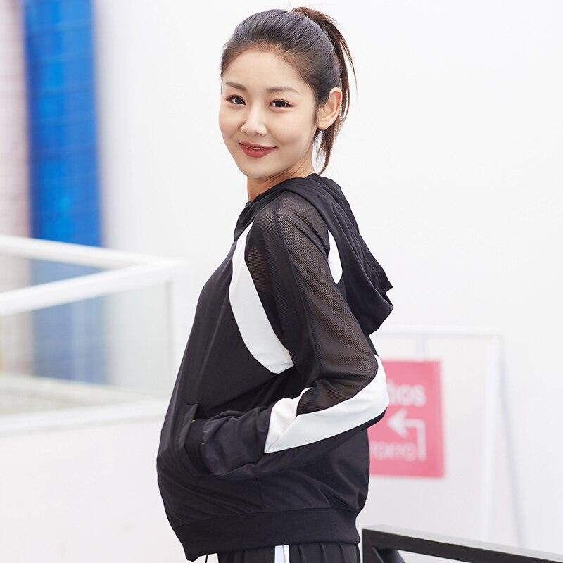 Women sexy autumn winter Running Jacket pocket mesh patchwork long sleeved Sport Coat gym fitness Outdoor Jogging yoga jacket