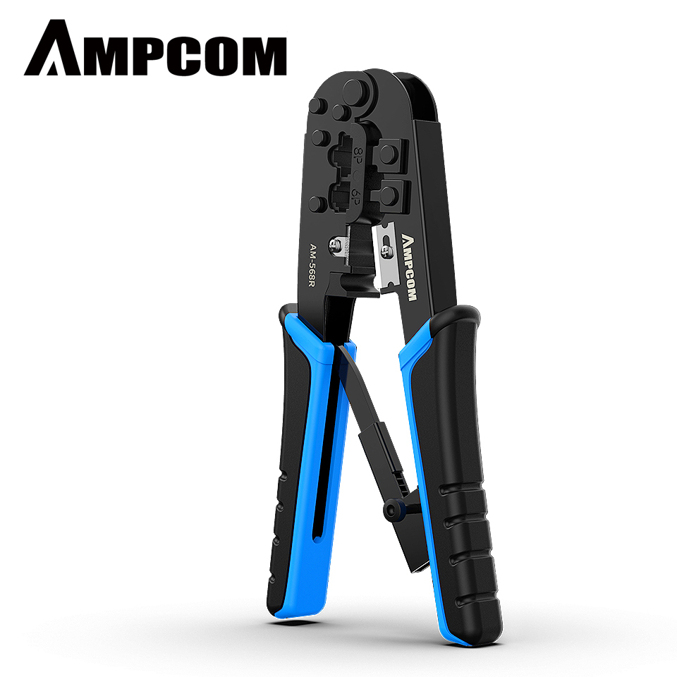 AMPCOM Superme Series Blue RJ11 RJ45 Crimping Tool Ratchet Crimping Pliers Network Cable CrimpTool for 4 6P 8P RJ-11/RJ-12 RJ-45AMPCOM Superme Series Blue RJ11 RJ45 Crimping Tool Ratchet Crimping Pliers Network Cable CrimpTool for 4 6P 8P RJ-11/RJ-12 RJ-45