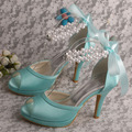 Wedopus MW775 Ribbon Mint Green Shoes Wedding Bridal for Women Ribbon High Heels