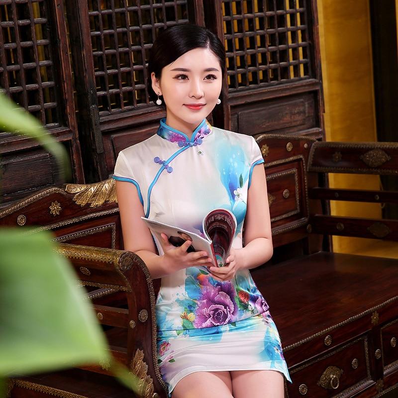 Cheongsam elegant i verës me dizajn të ri për mëngë të shkurtra Veshja tradicionale kineze e mbrëmjes Zonjë