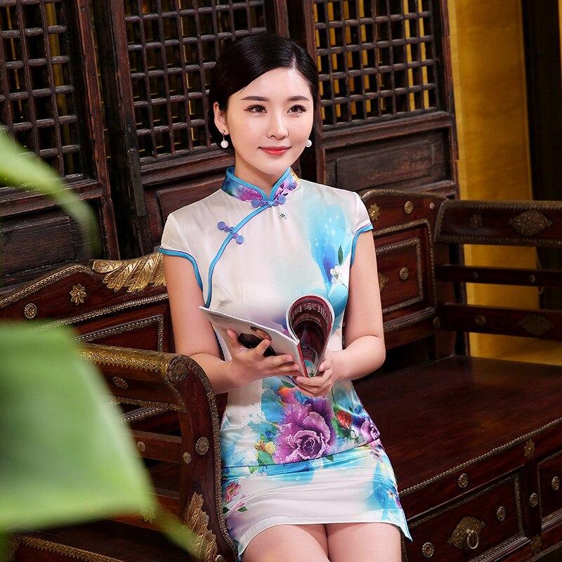 Novi dizajn Ljeto Elegantna Cheongsam za žene kratki rukav Tradicionalna kineska odjeća Lady večernja haljina