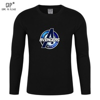 CIP 100 Cotton The Avengers 2017 New Style Mens Crew Neck Long Sleeve T Shirt Basic