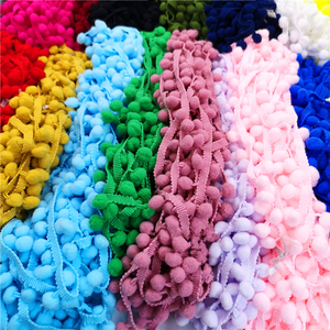2 yards Pom Pom Lace Trim Ball Ribbon MINI Pearl Pompom Fringe Ribbon Sewing Lace Kintted Fabric Handmade DIY Craft Accessories