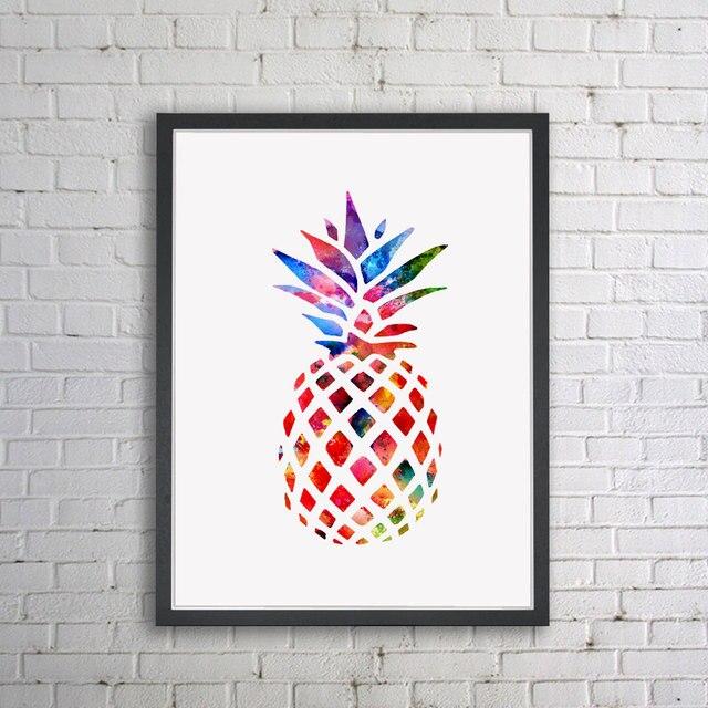 Aquarela Retratos Da Arte Do Berçário Home Decor Arte Aquarela Impressão  Abacaxi Abacaxi Ananas Pintura A