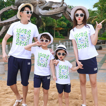 Green Leaves Print T-shirt and Short Pants Suits Family Cotton Clothes Dad  Boys Summer e11ce52346d8