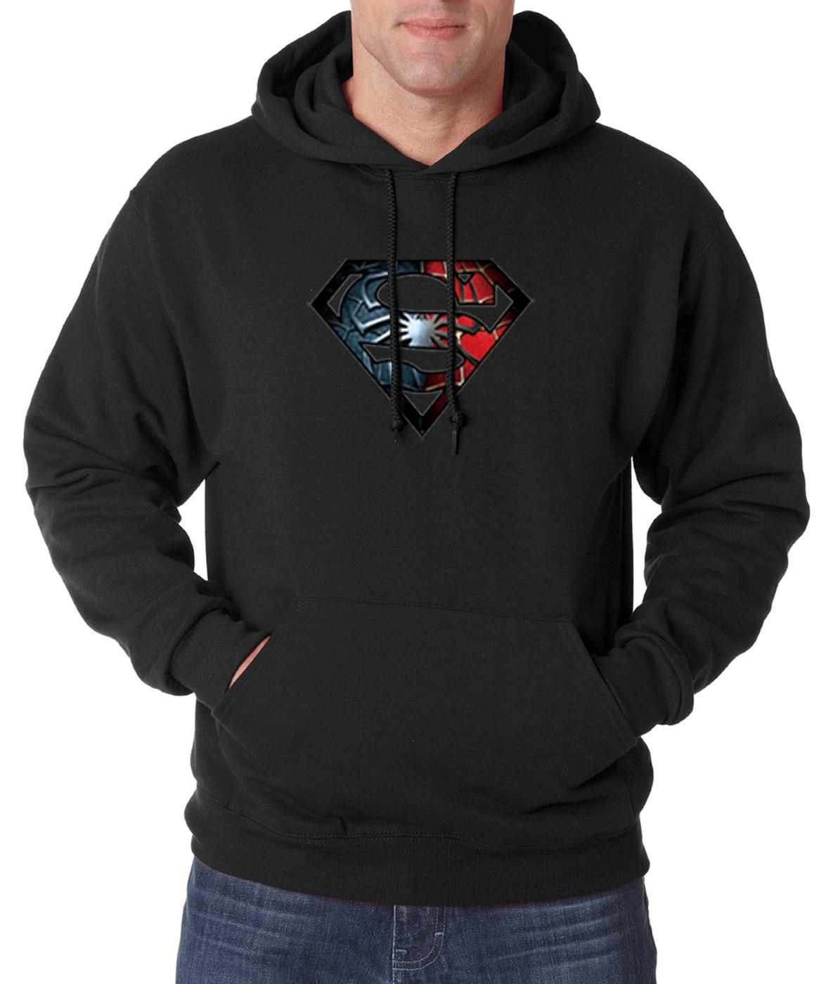 Супермен Для мужчин Толстовки 2016 на осень-зиму новый теплый флис Для мужчин Супермен кофты Мода Повседневная Свободная посадка с капюшоном ...