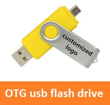 500pcs/lot otg usb flash drive 4GB 8GB 16GB 32GB pen drive thumb usb disk on key usb memory stick customized logo aceept ad gift