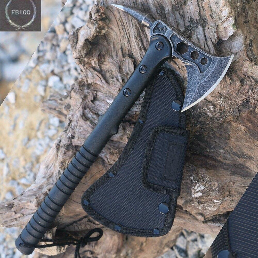 FBIQQ Tactical Axe Tomahawk ejército caza al aire libre Camping supervivencia Machete hachas herramientas de mano hacha de fuego hacha/Hacha de hielo