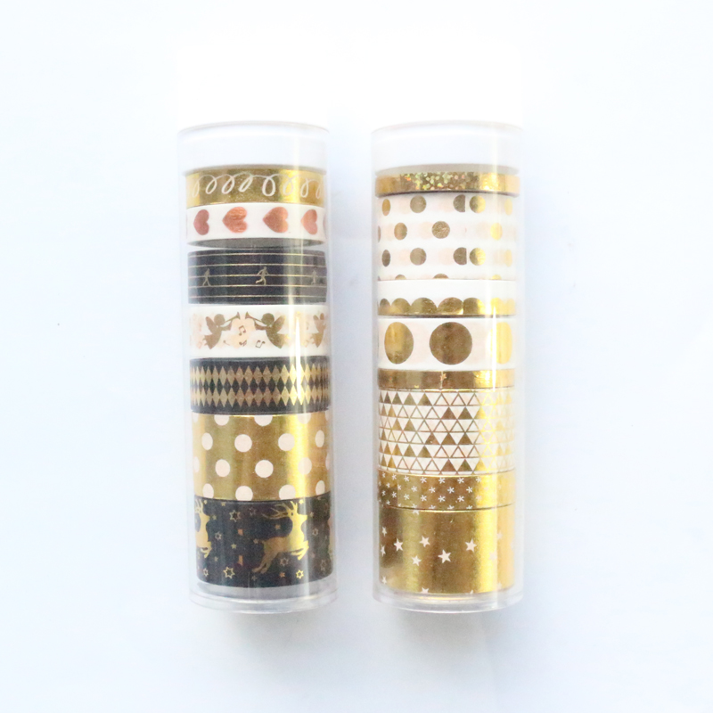 Domikee Cute Creative Gold Foil Decorative Washi Tape Rolls Set DIY Scrapbooking Gift Packing Diary Masking Tape Stationery 7pcs