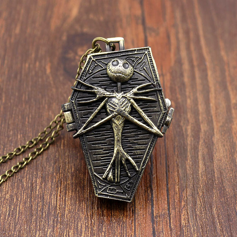 Free Shipping Bronze The Nightmare  Before Christmas Pocket Watch Skull Coffin Shape Black Dia Fob Watch Gift