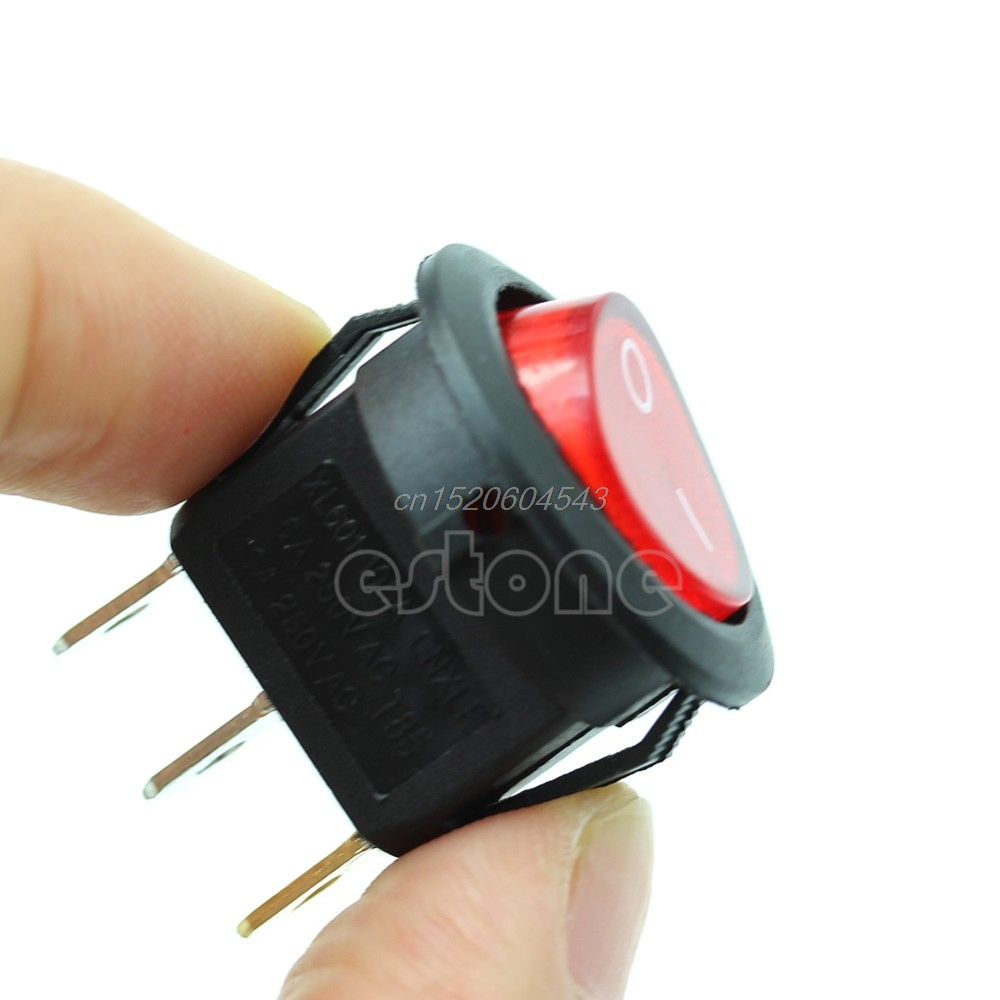 5PCs Light ON-OFF SPST Round Button Dot Boat Car Auto Rocker Switch AC 6A/250V Red R06 Drop Ship g126y 2pcs red led light 25 31mm spst 4pin on off boat rocker switch 16a 250v 20a 125v car dashboard home high quality cheaper
