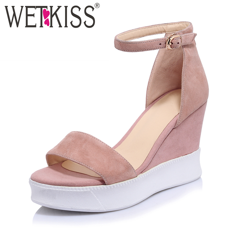 WETKISS Size 34-39 Kid Suede Ankle Strap Women Sandals Casual Wedges High Heels Summer Shoes Woman Platform Open toe Sandals phyanic 2017 gladiator sandals gold silver shoes woman summer platform wedges glitters creepers casual women shoes phy3323