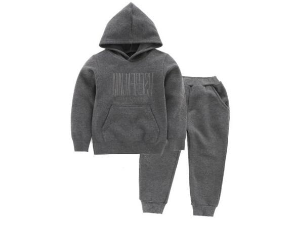 2017 autumn cool boys hooded sweatshirt grey black clothes cotton hoodie+pants baby boy outfit kids track sets jogging suits худи boys hoodie