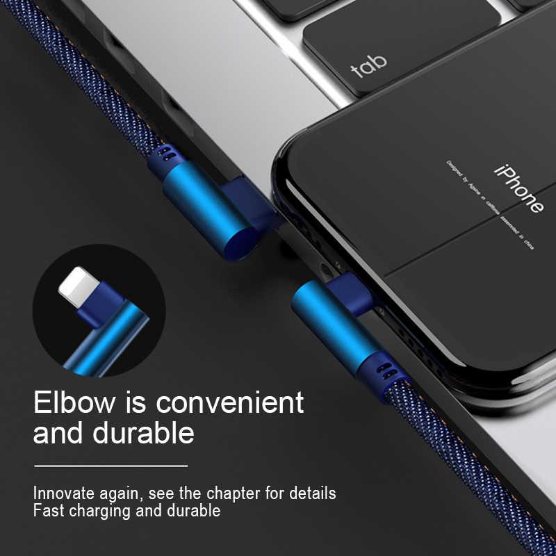 NOHON 90 Gradi Denim USB Cavo di Ricarica Per iPhone X XS MAX XR 8 7 6 6 S 5 5 S Plus di Illuminazione Cavo di Carico di Dati Per Ipad Mini 1 2 M