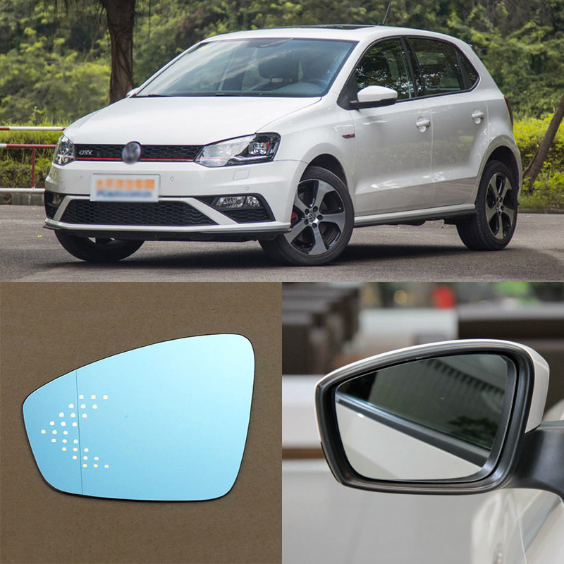 For Volkswagen Polo Brand New Car Rearview Mirror Blue Glasses LED Turning Signal Light with Heating for volkswagen sagitar brand new car rearview mirror blue glasses led turning signal light with heating