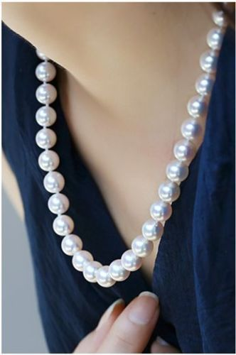 10-11mm freshwaters round white pearl necklace 18inch 925silver gold10-11mm freshwaters round white pearl necklace 18inch 925silver gold