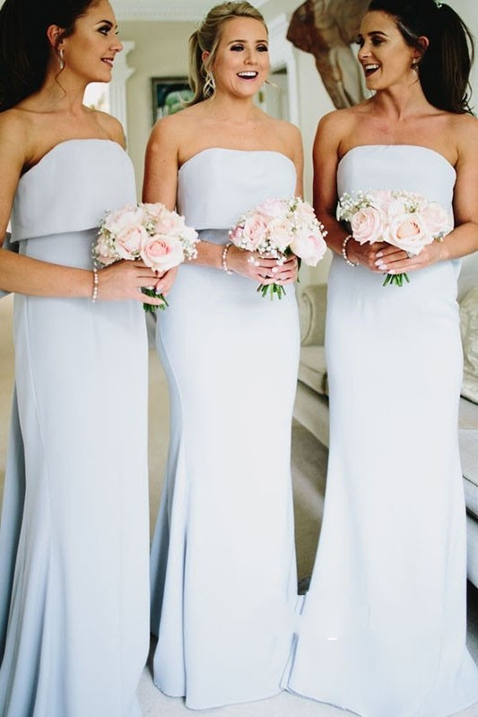 brautjungfernkleid New Style Mermaid Bridesmaid Dress With Bow Back Strapless Long Brides Maid Dresses