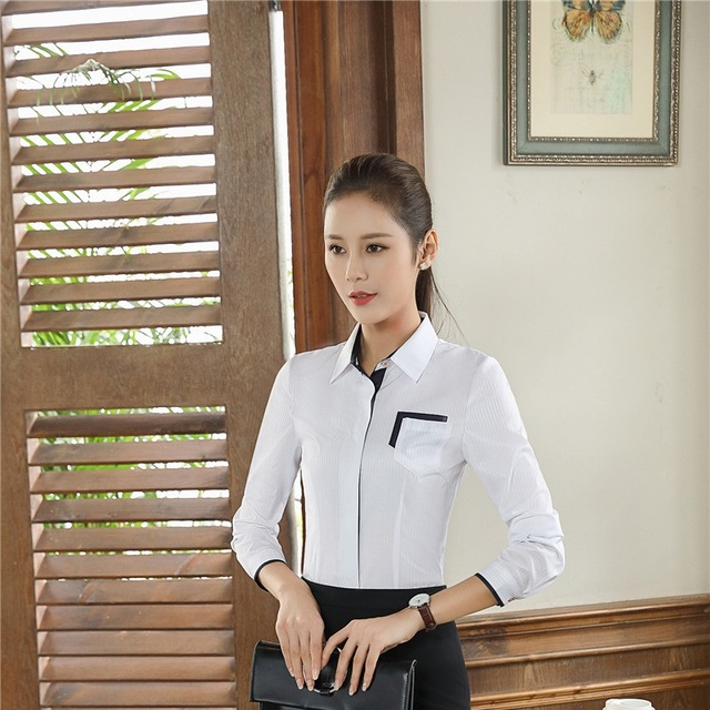 e11146db5 Primavera otoño manga larga elegante blanco blusas camisas para mujeres  Oficina ropa de trabajo a las