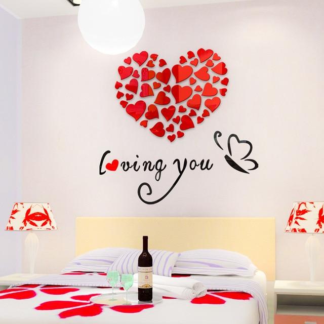 creative 3d love wallpaper crystal acrylic self adhesive wall