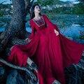 Venda Hot Spring & Autumn Red Mangas Compridas De Algodão Boêmio Vestido Longo Retro Lolita Vitoriano Vestidos de Baile