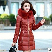 4XL 2015 Nueva Moda Abrigos de Cuello de Piel Larga de la Mujer prendas de vestir exteriores Fajas Espesan Parkas Abajo Chaqueta Para Mujer Abrigo de Invierno Q506