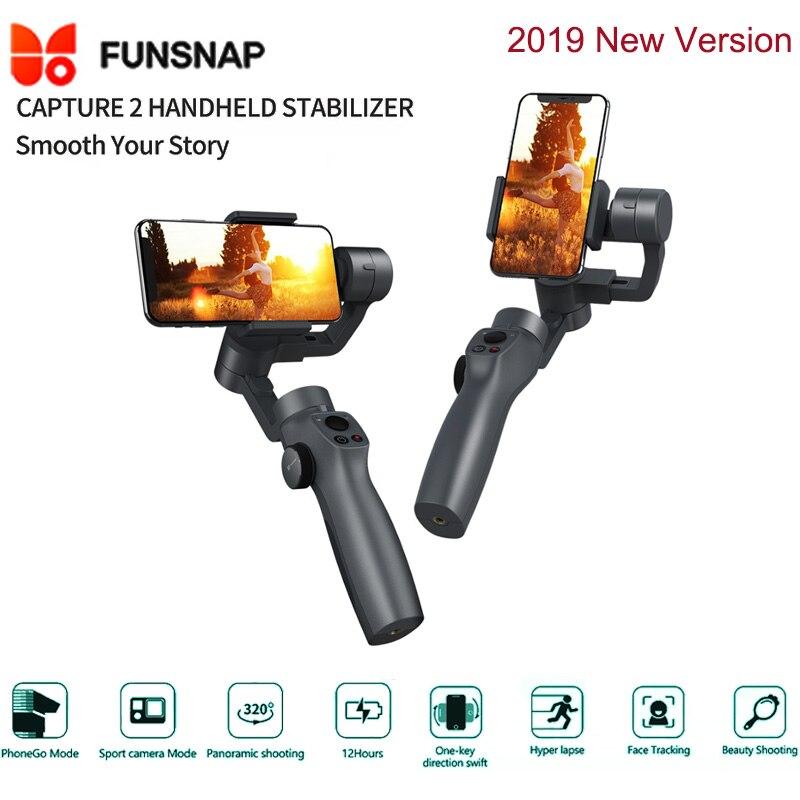 Nouveau Funsnap Capture 2 3 axes poignée de téléphone stabilisateur de cardan Steadicam pour Android Ios Smartphone VS Xiaomi Zhiyun lisse 4 Feiyu