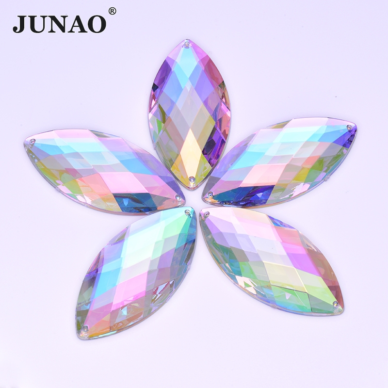 JUNAO 30*62mm Big Crystal AB Sewing Rhinestones Horse Eye Crystals Stones Sew On Acrylic Strass Flatback Applique for Clothes