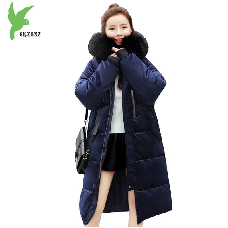 Boutique Women Winter Golden Velvet Cotton Jacket Coats Thick Warm Parkas Hooded Fur collar Cotton Jackets Plus size OKXGNZ 1266 winter jacket women 2017 big fur collar hooded cotton coats long thick parkas womens winter warm jackets plus size coats qh0578