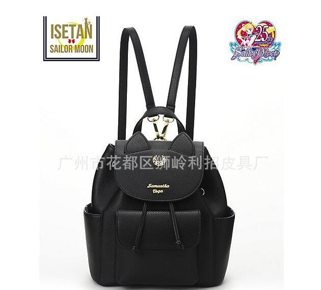 Offres spéciales! Femmes sac à dos en cuir PU marin lune sac à dos noir blanc Luna chat dames sac à dos filles voyage sac à dos