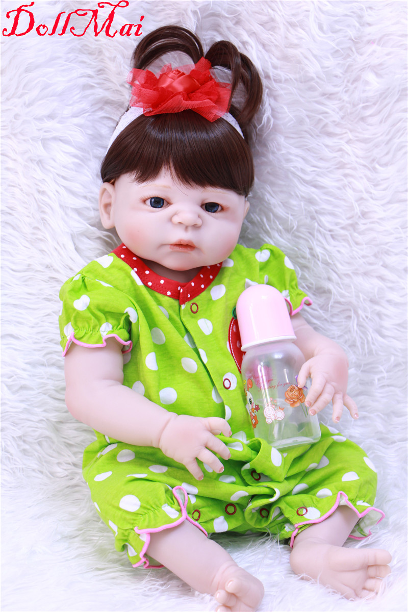 DollMai 22 full Silicone Reborn Baby Doll kids birthday gift For Girls child toy dolls bebe alive reborn com corpo de silicone DollMai 22 full Silicone Reborn Baby Doll kids birthday gift For Girls child toy dolls bebe alive reborn com corpo de silicone
