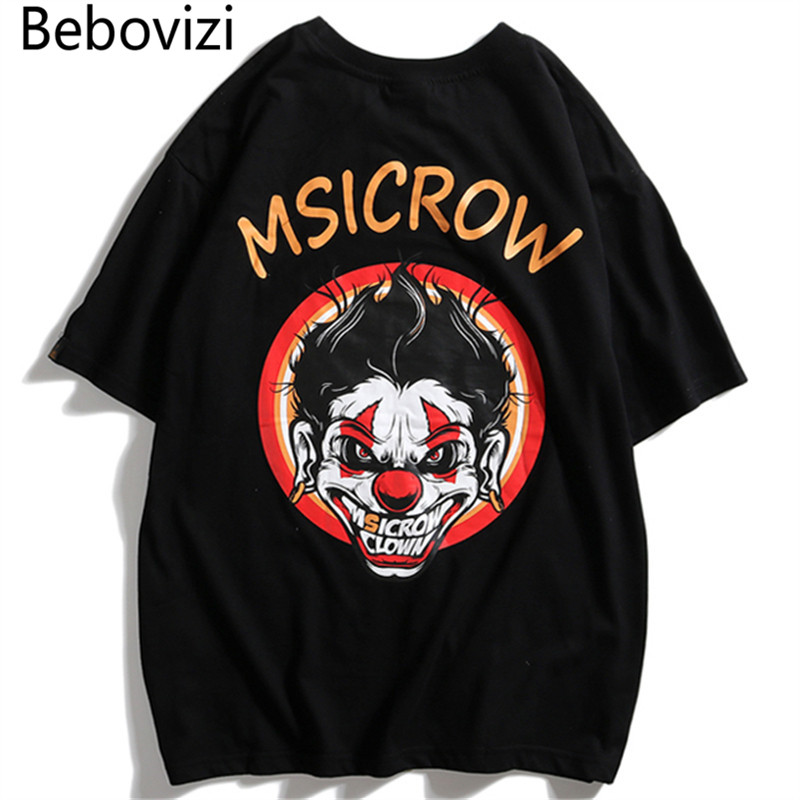 Bebovizi 2019 Streetwear Urban Style Evil Clown Short Sleeve T Shirts Hip Hop Casual Cotton Tops Tees Men Oversize Tshirts in T Shirts from Men 39 s Clothing