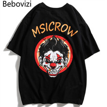 Bebovizi 2019 Streetwear Urban Style Evil Clown Short Sleeve T Shirts Hip Hop Casual Cotton Tops Tees Men Oversize Tshirts