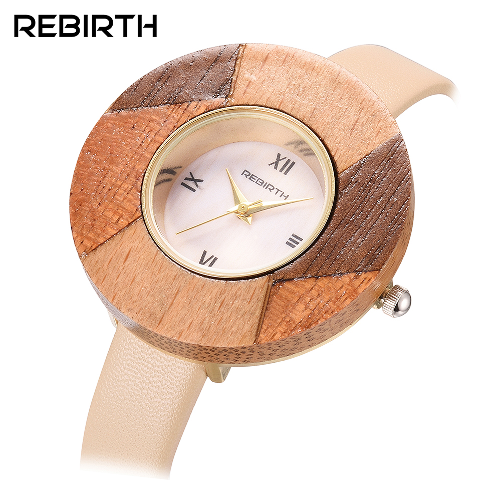 Top Brand REBIRTH Women Quartz Watch Lady Luxury Fashion Dress Clock Classic Wood Female Wristwatch Gift relogio feminino luxury top brand guanqin watches fashion women rhinestone vintage wristwatch lady leather quartz watch female dress clock hours