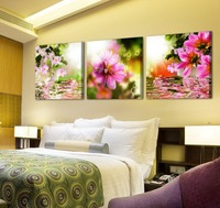 3 Panels Wall Art Picture Printed Wall Pictures Flower Paintings For Wedding Decoration