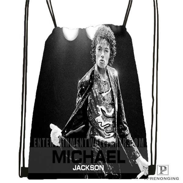 Custom Michael-jackson@01  Drawstring Backpack Bag Cute Daypack Kids Satchel (Black Back) 31x40cm#180611-03-111