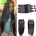 Ali Julia Virgin Hair Company Unprocessed Virgin Peruvian Hair with Closure 2/3 Bundles with Lace Closure Peruvian Straight Hair